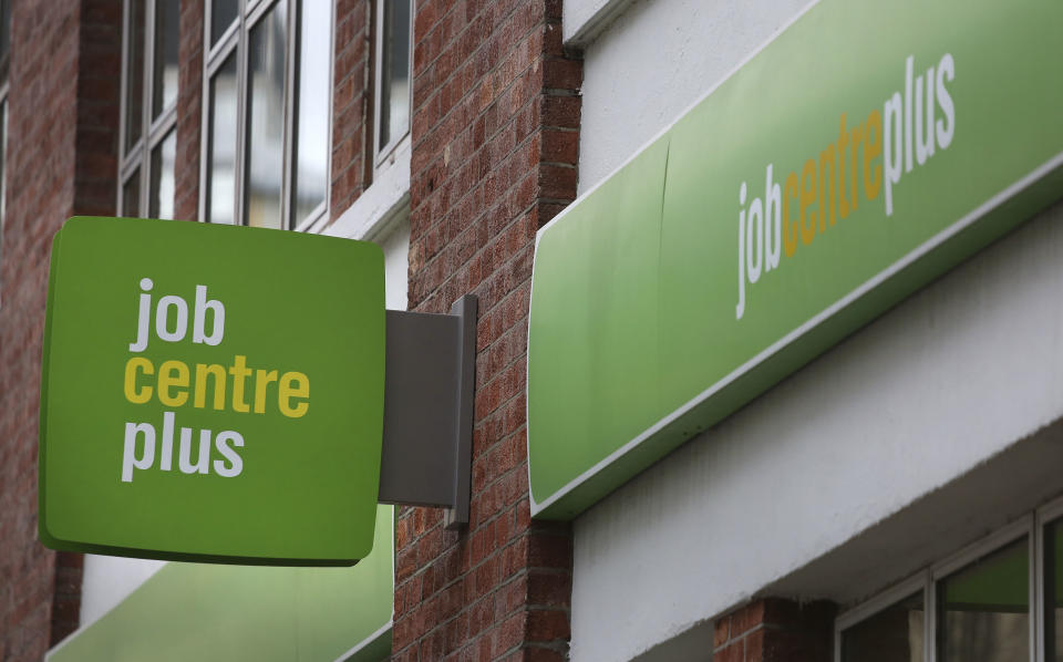 File photo dated 17/02/16 of a Job Centre Plus in London. Up to one in three jobs in parts of Britain are at risk of being lost due to the coronavirus crisis, a new study has suggested.
