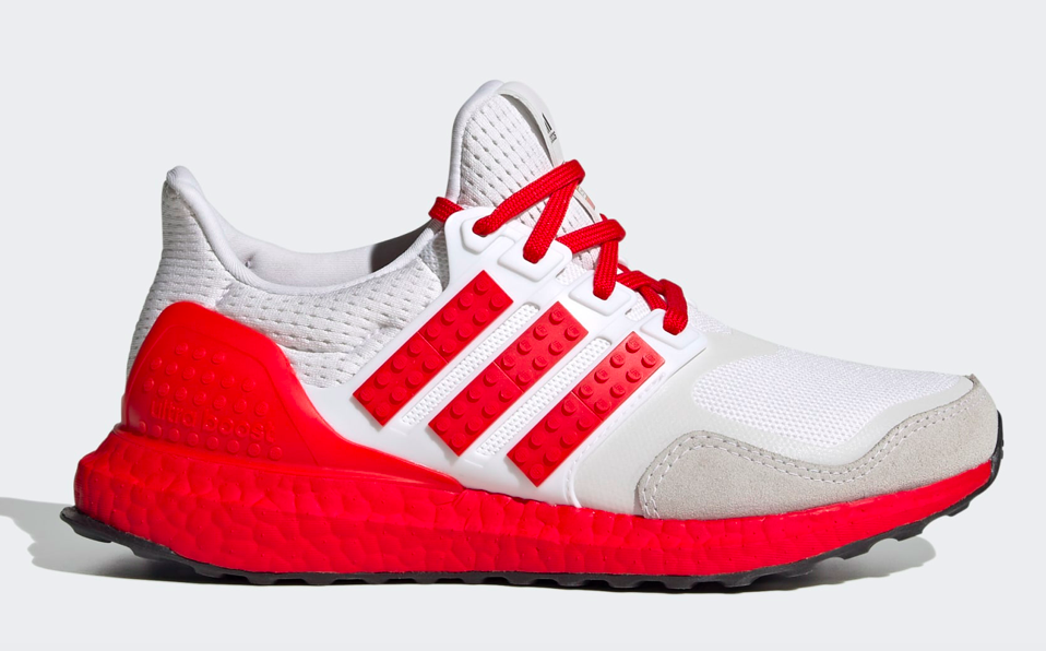adidas Ultraboost DNA x Lego Colors running shoes in Cloud White/Red/Cloud White. - Credit: Courtesy of Adidas