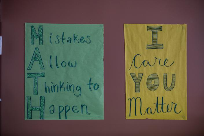 Encouraging signage is posted in the algebra II/pre-calculus class at Burton High School in San Francisco.
