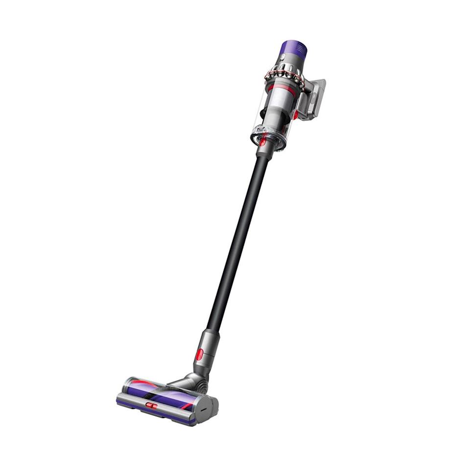 """Looking to spend a bit more? Consider the Dyson Cyclone, which you can save $150 on for a limited time only. Reviewers rave about the """"phenomenal machine"""" and its impressive pickup performance, plus its powerful digital motor that has no trouble tackling pesky debris buried deep in your carpet, and promises up to 60 minutes of fade-free power. Pet hair never stood a chance! $550, Dyson. <a href=""""https://www.dyson.com/vacuum-cleaners/sticks/dyson-cyclone-v10-stick/dyson-cyclone-v10-absolute-black"""" rel=""""nofollow noopener"""" target=""""_blank"""" data-ylk=""""slk:Get it now!"""" class=""""link rapid-noclick-resp"""">Get it now!</a>"""