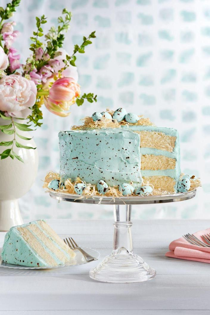 """<p>Enrobed in light blue speckled frosting, this spring cake looks just like a robin's egg. Add a Phyllo nest and malted milk egg candies on top, and it's almost too pretty to eat. (We said<em> almost</em>.)</p><p><strong><a href=""""https://www.countryliving.com/food-drinks/recipes/a37729/speckled-malted-coconut-cake-recipe/"""" rel=""""nofollow noopener"""" target=""""_blank"""" data-ylk=""""slk:Get the recipe"""" class=""""link rapid-noclick-resp"""">Get the recipe</a>.</strong></p><p><a class=""""link rapid-noclick-resp"""" href=""""https://www.amazon.com/Kootek-Decorating-Supplies-Turntable-Disposable/dp/B07M7M898T/?tag=syn-yahoo-20&ascsubtag=%5Bartid%7C10050.g.3185%5Bsrc%7Cyahoo-us"""" rel=""""nofollow noopener"""" target=""""_blank"""" data-ylk=""""slk:SHOP CAKE DECORATING KITS"""">SHOP CAKE DECORATING KITS</a></p>"""