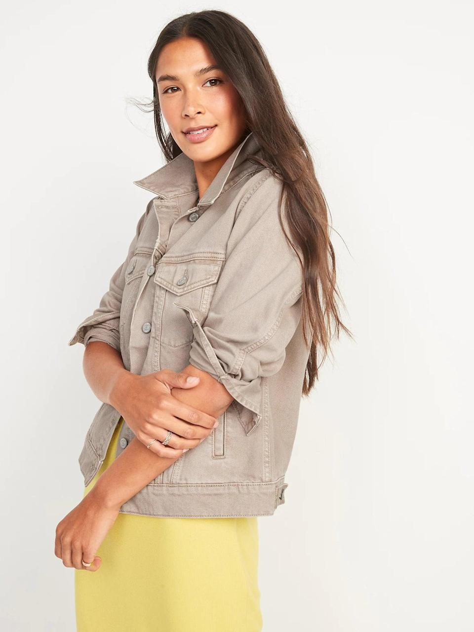 <p>Switch up basic blue this season with a chic <span>Old Navy Tan Non-Stretch Jean Jacket</span> ($40) instead.</p>