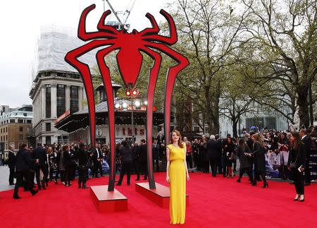 Actress Emma Stone arrives at the world premiere of The Amazing Spiderman 2 in central London