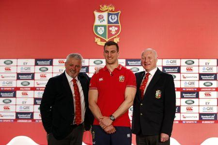 British & Irish Lions captain Sam Warburton poses with head coach Warren Gatland and tour manager John Spencer during the squad announcement