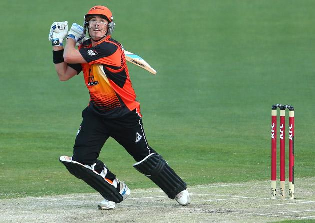 Marcus North of the Scorchers hits out during the Big Bash League match between the Hobart Hurricanes and the Perth Scorchers at Blundstone Arena on January 1, 2013 in Hobart, Australia.  (Photo by Robert Cianflone/Getty Images)