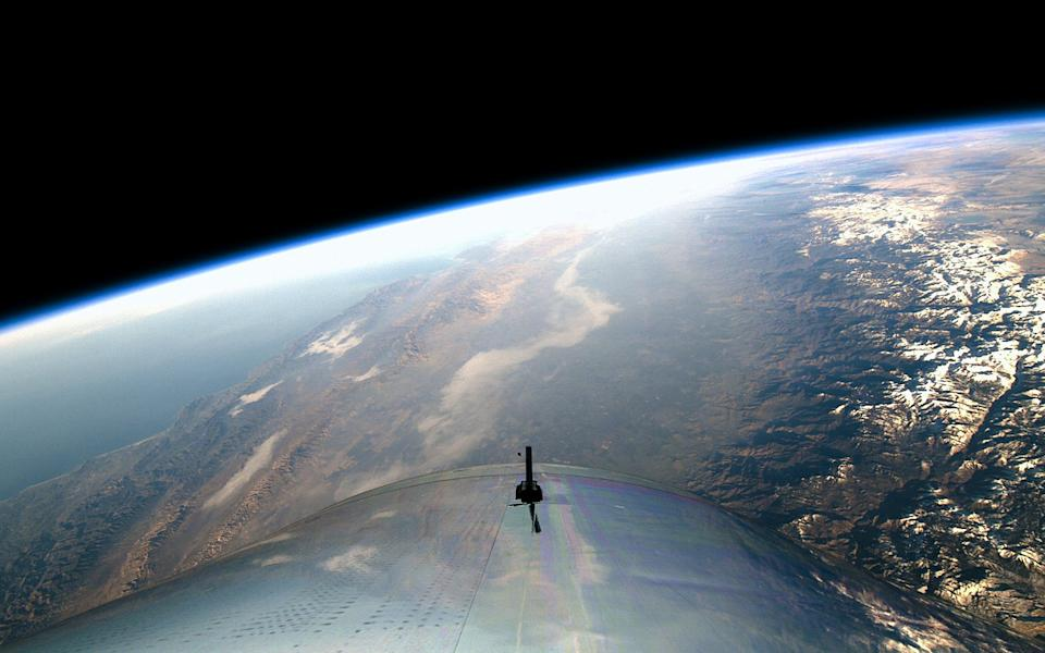 Virgin Galactic's VSS Unity spaceliner captured this view of Earth during the vehicle's first trip to space, on Dec. 13, 2018. <cite>Virgin Galactic</cite>