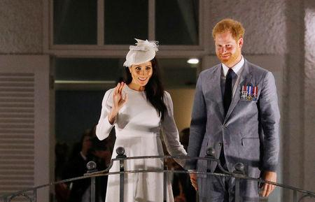 Britain's Prince Harry and Meghan, the Duchess of Sussex, arrive at Grand Pacific Hotel in Suva, Fiji