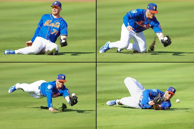 <p>New York Mets Zach Borenstein (71) attempts a sliding catch in the fifth inning of a baseball game against the St. Louis Cardinals at First Data Field in Port St. Lucie, Fla., Feb. 24, 2018. (Photo: Gordon Donovan/Yahoo News) </p>
