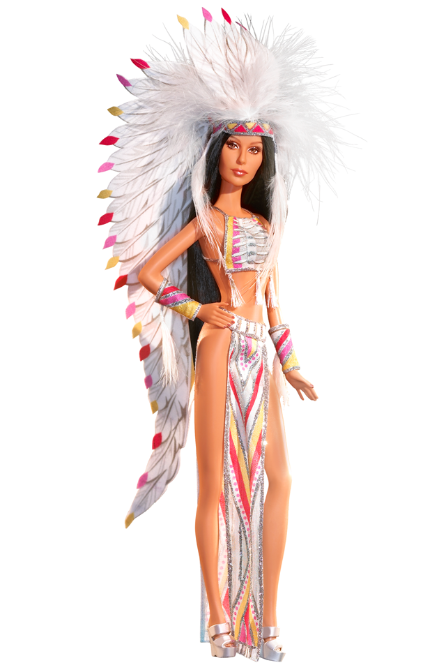 "<div class=""caption-credit""> Photo by: barbiecollector.com</div><b>'70s Cher Bob Mackie doll, released in 2007 for $34.98</b> <br> Always over-the-top, this Native American-inspired getup comes with a feather headdress and skimpy halter top and skirt. It may seem un-P.C. these days, but all we can think about is how much prettier Cher looked before all the plastic surgery. Even in doll form."