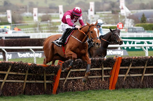 Horse Racing - Cheltenham Festival - Cheltenham Racecourse, Cheltenham, Britain - March 14, 2018 Samcro ridden by Jack Kennedy during the 13.30 Ballymore Novices' Hurdle REUTERS/Darren Staples