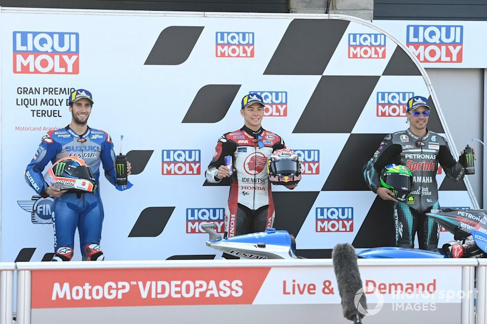 "Los 3 primeros clasificados Alex Rins, Team Suzuki MotoGP, ganador de la pole Takaaki Nakagami, Team LCR Honda, Franco Morbidelli, Petronas Yamaha SRT<span class=""copyright"">Gold and Goose / Motorsport Images</span>"