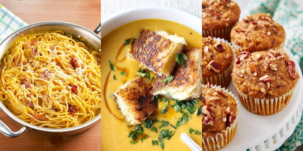 """<p>As much as we love pumpkin at <a href=""""https://www.delish.com/uk/cooking/recipes/g34022642/halloween-food-ideas/"""" target=""""_blank"""">Halloween</a>, we're also big fans of eating the iconic squash all throughout autumn. Whether it's blended into a creamy <a href=""""https://www.delish.com/uk/cooking/recipes/a28784904/easy-pumpkin-soup/"""" target=""""_blank"""">Pumpkin Soup</a>, baked into a batch of <a href=""""https://www.delish.com/uk/cooking/recipes/a33749990/pumpkin-spice-chocolate-chip-cookies-recipe/"""" target=""""_blank"""">Pumpkin Chocolate Chip Cookies</a> or even slipped into a <a href=""""https://www.delish.com/uk/cooking/recipes/a34188107/pumpkin-carbonara-recipe/"""" target=""""_blank"""">Pumpkin Carbonara</a>, we see it as versatile, delicious and pretty much a must-have in the cooler months. </p>"""