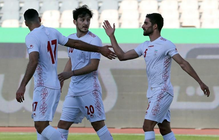 Sardar Azmoun (C) picture here during a friendly against Syria, scored the only goal in his country's win over Iraq