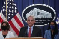 U.S. Justice Department announces lawsuit to block enforcement of Texas abortion ban, during news conference in Washington