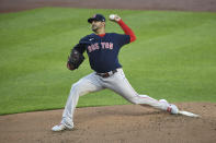 Boston Red Sox starting pitcher Martin Perez throws during the first inning of a baseball game against the Baltimore Orioles, Monday, May 10, 2021, in Baltimore. (AP Photo/Terrance Williams)