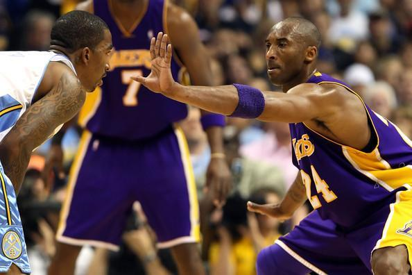 "Kobe Bryant defends <a class=""link rapid-noclick-resp"" href=""/nba/players/3835/"" data-ylk=""slk:J.R. Smith"">J.R. Smith</a> during the 2009 Western Conference Finals. (Getty)"