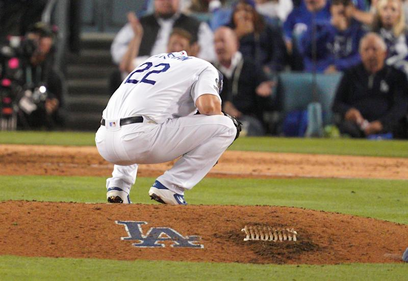 LOS ANGELES, CA - OCTOBER 09: Los Angeles Dodgers relief pitcher Clayton Kershaw (22) reacts after giving up back to back solo home runs to tie game 5 of the NLDS in Los Angeles on Wednesday, Oct. 9, 2019. (Photo by Scott Varley/MediaNews Group/Torrance Daily Breeze via Getty Images)