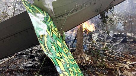 Fire seen at the site where a plane crashed in the mountainous area of Punta Islita, in the province of Guanacaste, in Costa Rica December 31, 2017 in this picture obtained from social media.  Ministerio de Seguridad Publica de Costa Rica/via REUTERS