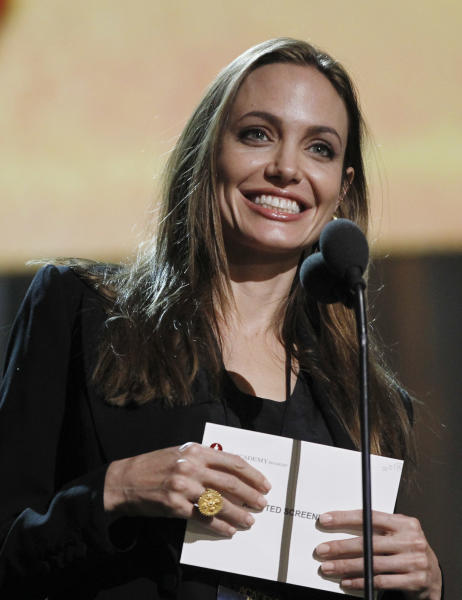 Angelina Jolie is shown during a rehearsal for the 84th Academy Awards show Friday, Feb 24, 2012 in Los Angeles. The awards will be held on Sunday. (AP Photo/Chris Carlson)