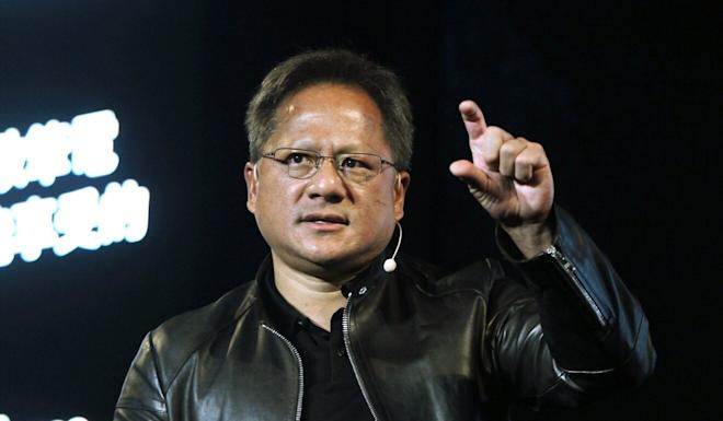 In this 2017 file photo, Nvidia CEO Jensen Huang delivers a speech about AI and gaming during the Computex Taipei exhibition, Taiwan. Photo: AP