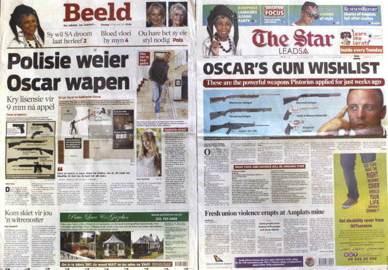 "FILE - In this photo taken Wednesday Feb. 20 2013 two Tuesday newspaper headlines carrying the news of Olympian Athlete Oscar Pistorius' applications for six firearms are photographed in Johannesburg. Pistorius applied for licenses for six guns a few weeks before he shot and killed his girlfriend and Pistorius says the shooting of Reeva Steenkamp was accidental. Prosecutors have charged him with premeditated murder. Afrikaans newspaper headline left, reads ""Police refuse Oscar weapon, gets 9mm license after appeal"". Even if Pistorius is acquitted of murder, firearms and legal experts in South Africa believe that, by his own account, the star violated basic gun-handling regulations by shooting into a closed door without knowing who was behind it, exposing himself to the lesser but still serious charge of culpable homicide. (AP Photo/Denis Farrell-File)"