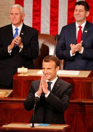 French President Emmanuel Macron addresses a joint meeting of Congress in the House chamber of the U.S. Capitol in Washington, U.S., April 25, 2018. REUTERS/Brian Snyder