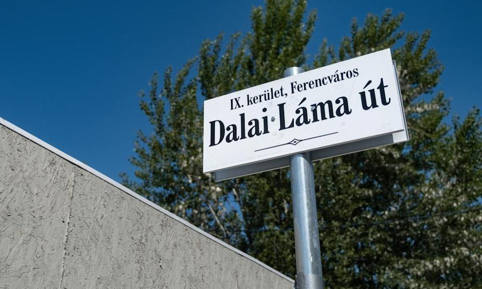 """Renamed street sign """"Dalai Lama"""" near the planned site of Chinese Fudan University campus in Budapest, Hungary"""