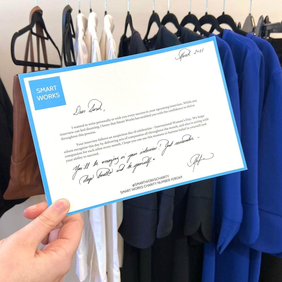 Meghan sent personalised letters to some of the clients at Smart Works. (Smart Works)