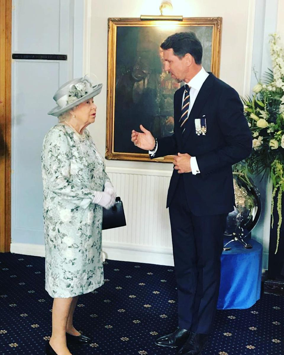 Pavlos, Crown Prince of Greece with Britain's Queen Elizabeth II, his third cousin, once removed. Photo: Instagram/pavlosgreece.