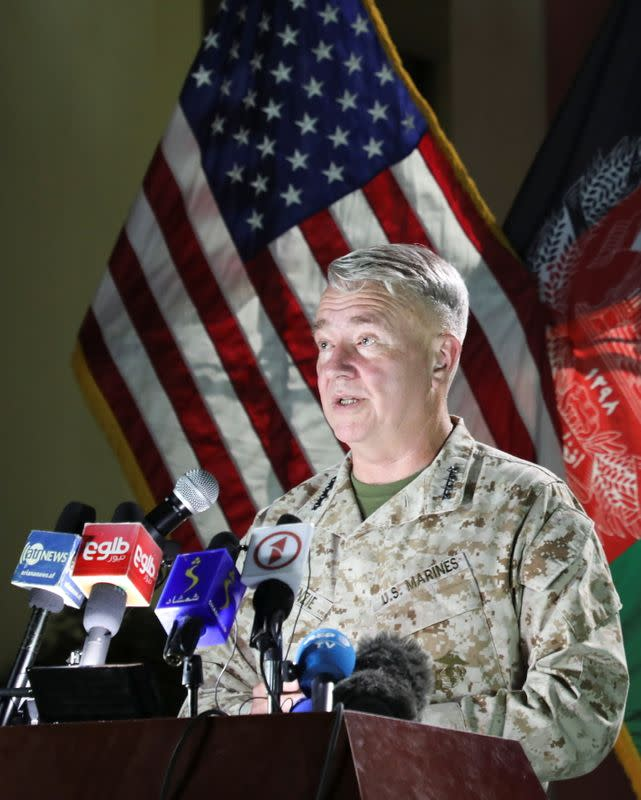 U.S. Marine Corps General McKenzie, commander of U.S. Central Command, speaks during a news conference, in Kabul
