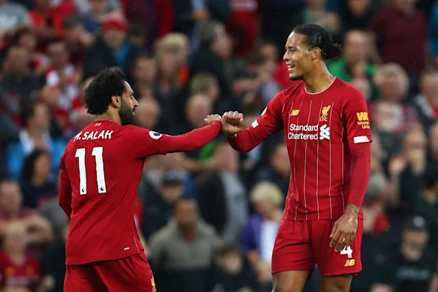 Mo Salah and Virgil Van Dijk both found the net in Liverpool's win. (Photo by Robbie Jay Barratt - AMA/Getty Images)