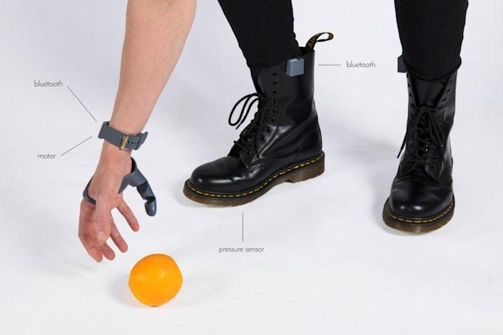 Graphic shows the components of the robotic Third Thumb.