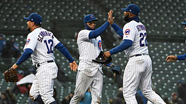 The Chicago Cubs trailed 10-2 entering the bottom of the sixth inning, but scored 12 unanswered runs to stun the Milwaukee Braves.