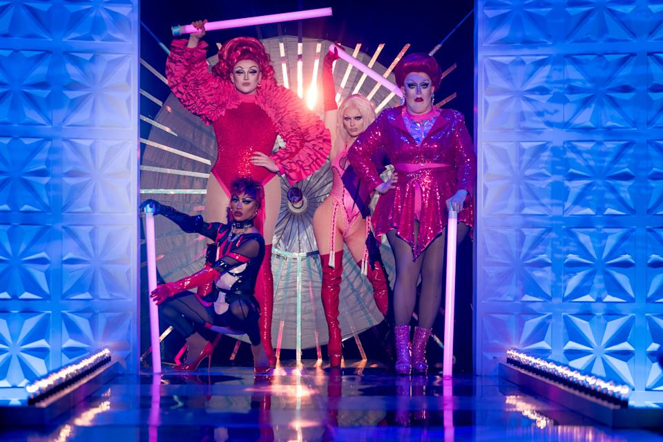 RuPaul's Drag Race UK finalists Tayce, Ellie Diamond, Bimini Bon Boulash, Lawrence Chaney. (BBC/World of Wonder/Guy Levy)