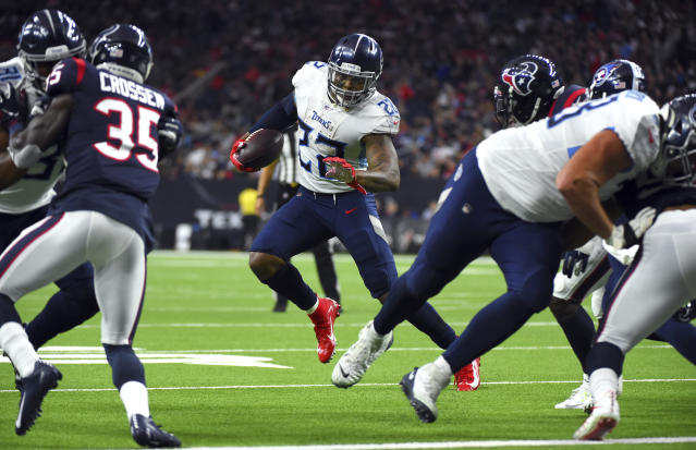 Tennessee Titans running back Derrick Henry (22) rushes for a touchdown against the Houston Texans during the second half of an NFL football game Sunday, Dec. 29, 2019, in Houston. (AP Photo/Eric Christian Smith)
