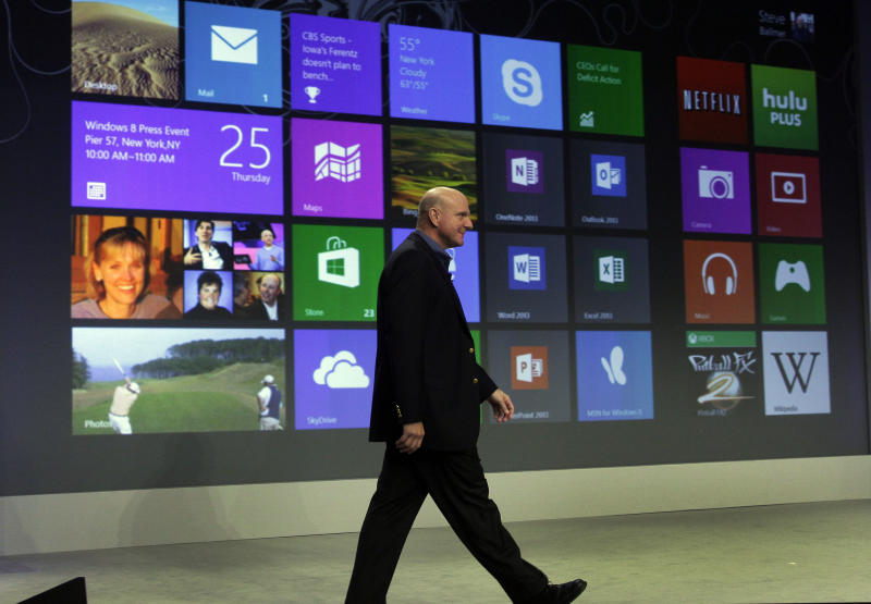 Microsoft CEO Steve Ballmer arrives to give his presentation at the launch of Microsoft Windows 8, in New York, Thursday, Oct. 25, 2012. Windows 8 is the most dramatic overhaul of the personal computer market's dominant operating system in 17 years. (AP Photo/Richard Drew)