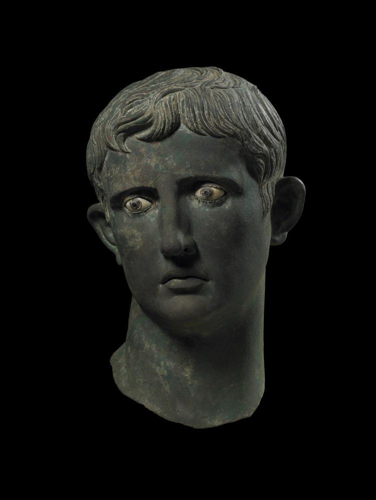A statue of the Roman emperor Augustus's head, on display at the British Museum