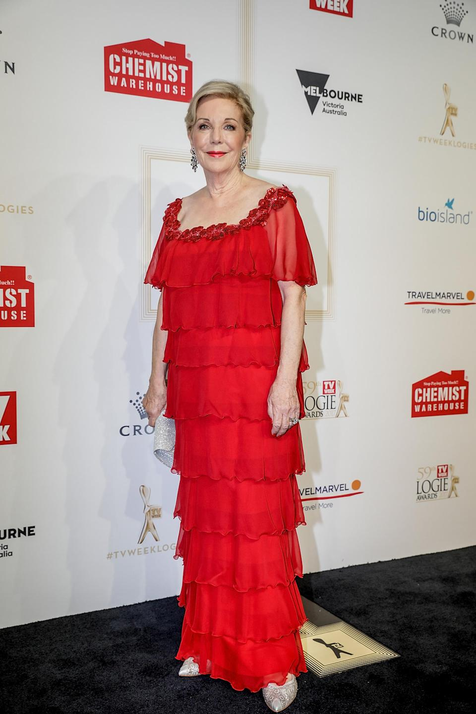 Media legend Ita Buttrose typically favours simple, elegant outfits so her head-to-toe fringed number at the 2017 awards was a bit of a surprise. The fire engine red hue and the boxy shape simply don't do Ita any favours and the whole thing says 'frumpy' rather than 'flapper.' Source: Getty