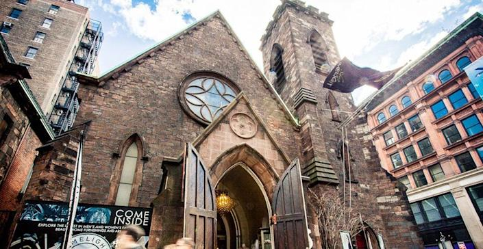 """This is the old Church of the Holy Communion, locatedin New York's Flatiron district. The 19th century Episcopal church has lived many lives since it stopped being used as a sacred space in 1976.<br /><br />The building hasbeen <a href=""""http://www.nytimes.com/2010/03/17/realestate/commercial/17limelight.html"""" target=""""_blank"""">used</a> as a commune, a nightclub (whose opening-night party was hosted by Andy Warhol), an upscale urban mall called Limelight Shops, and <a href=""""http://www.nytimes.com/2016/01/21/fashion/the-many-lives-of-limelight.html"""" target=""""_blank"""">recently</a>a Chinese restaurant.<br /><i><br />Scroll down for images of this former Episcopal church.</i>"""