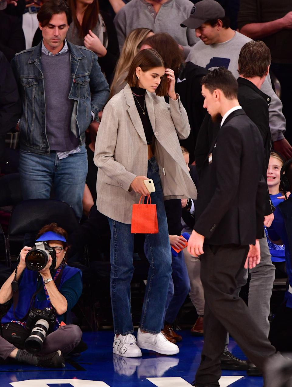For a Bulls vs. Knicks game, Kaia appeared courtside clad in some Nike Air Force 1 Uptempo hybrids.