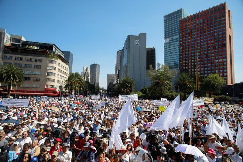 A general view during a march to protest against violence on the first anniversary of President Andres Manuel Lopez Obrador taking office, in Mexico City