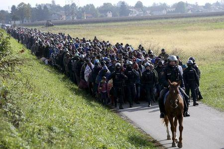 File photo of a mounted policeman leading a group of migrants near Dobova