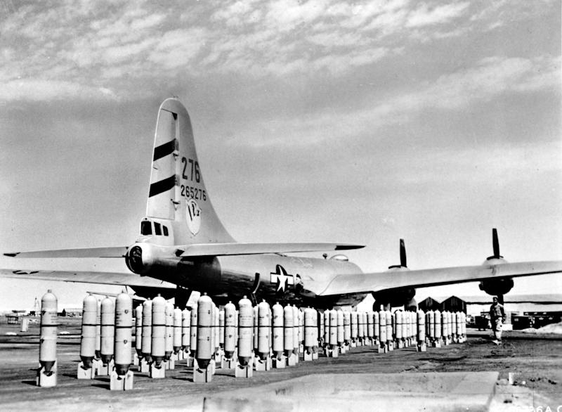 Lined up beside a U.S. Boeing B-29 Superfortress are rows of bombs ready to be loaded on the bomber plane at one of the bases of Brig. Gen. Roger M. Ramey's 20th Bomber Command in India in this undated photo during World War II. The artillery is for a mission against a Japanese target on the Malay Penistula. (AP Photo/U.S. Army Air Force)