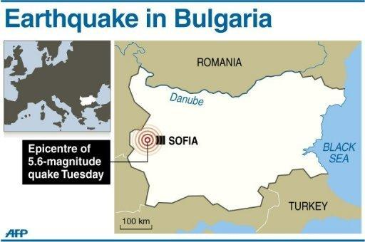 Map locating the epicentre of a 5.8-magnitude quake that struck just outside Sofia in Bulgaria on Tuesday