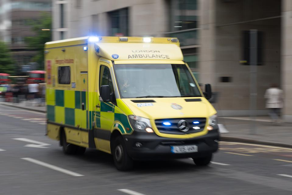 LONDON, ENGLAND - MAY 30: An Ambulance on a emergency response call on May 30, 2019 in London, England. (Photo by John Keeble/Getty Images)