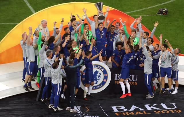 Chelsea's players savour their Europa League final win against Arsenal (Steven Paston/PA)