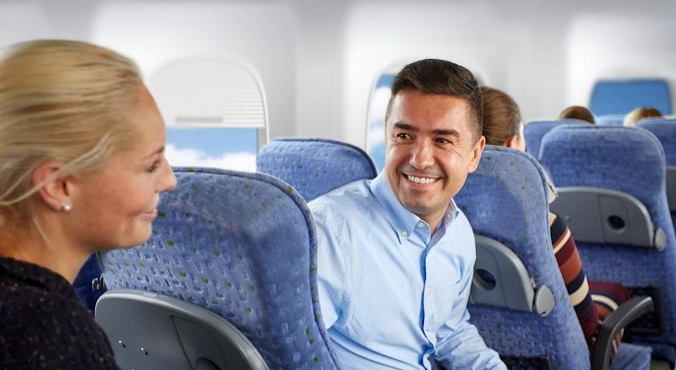 Two People Flirting on an Airplane