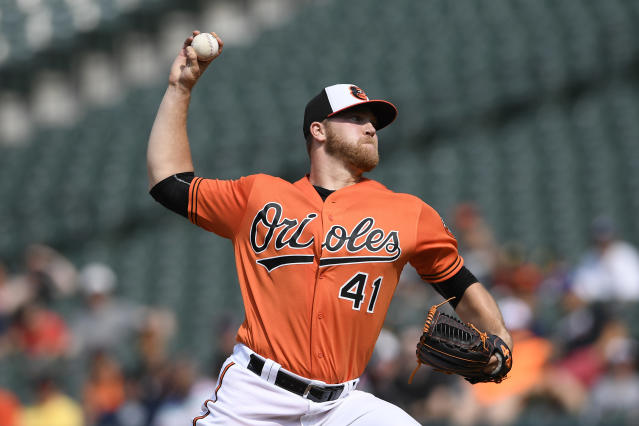 Baltimore Orioles starting pitcher David Hess delivers during the first inning of a baseball game against the San Francisco Giants, Saturday, June 1, 2019, in Baltimore. (AP Photo/Nick Wass)
