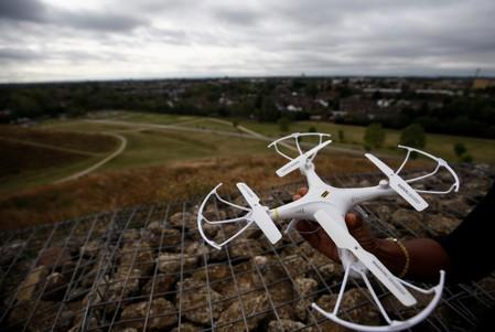 A drone is pictured near Heathrow Airport in London