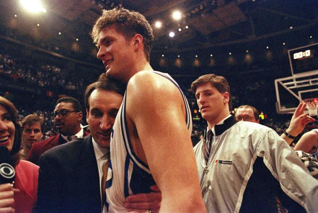Other shots have arrived amid higher stakes. But none had a bigger impact on college basketball that Christian Laettner's miracle against Kentucky. (AP Photo/Amy Sancetta)